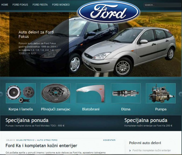 Seo optimizacija i izrada sajta delovi za ford